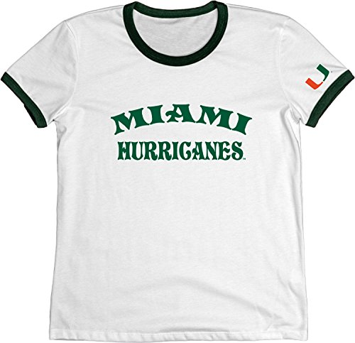 (NCAA Miami Hurricanes Adult Women NCAA Women's Vintage Supima Ringer Tee,Small,Forest)