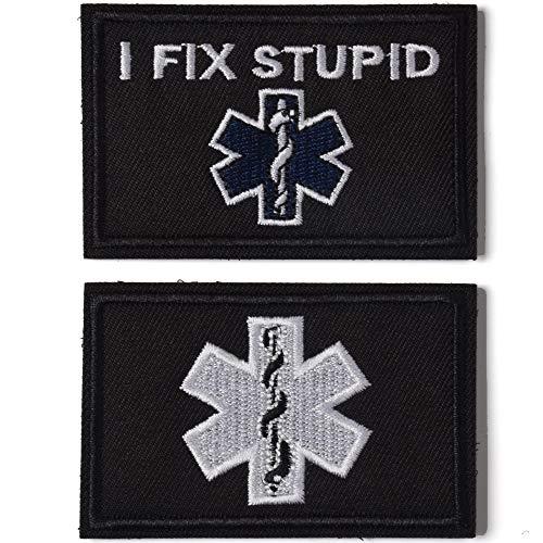 AXEN I Fix Stupid EMT Medic Funny Tactical Military Morale Patch Hook & Loop Tactical Patch