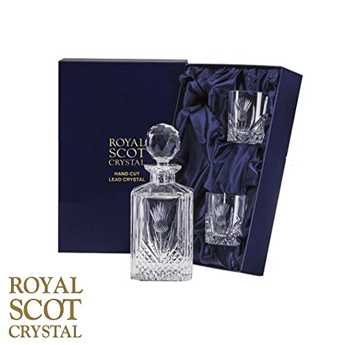 Royal Scot Crystal Scottish Thistle Crystal Whisky Set Decanter and 2 Glasses by Royal Scot Crystal