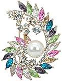 Gyn&Joy Gold Tone Colorful Crystal Rhinestone Flower Brooch Pin Bridal Bouquet Wedding Jewelry BZ097