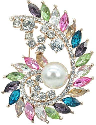Gold Tone Swirl Pin (Gyn&Joy Gold Tone Colorful Crystal Rhinestone Flower Brooch Pin Bridal Bouquet Wedding Jewelry BZ097)