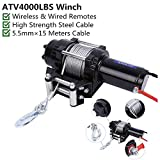 Electric Winch Towing-4000Lb 12V Waterproof Towing Winches Kit Truck Trailer Steel Rope Wireless Remote Control for SUV UTV ATV Boat