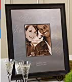 Signature Keepsakes Frame Engravable Signature Mat Guest Book, Medium, Silver/Mocha