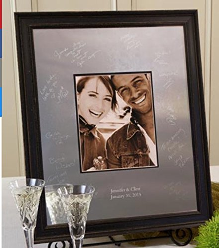Signature Keepsakes Frame Engravable Signature Mat Guest Book, Medium, Silver/Mocha (Keepsake Platter Signature)