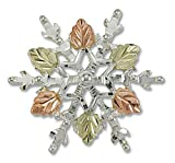 Landstroms Silver Snowflake Brooch Pin with 12k Black Hills Gold Leaves - PN873SS