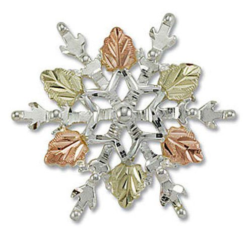 Landstroms Silver Snowflake Brooch Pin with 12k Black Hills Gold Leaves - PN873SS by Landstroms Original Black Hills Gold