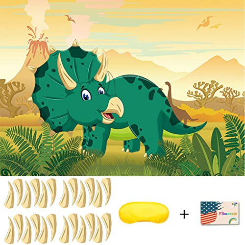 Pin The Horn On The Triceratops Party Games for Kids Birthday Party Supplies Dinosaur Party Games Include Large Poster 24 Sticker Horns and Blindfold]()