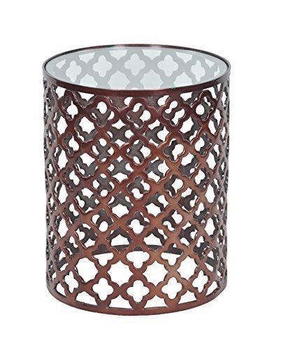 Cheap 19″ Aluminum Bronze Glass Top Lattice Accent Table Decorative Side Table Garden Stool
