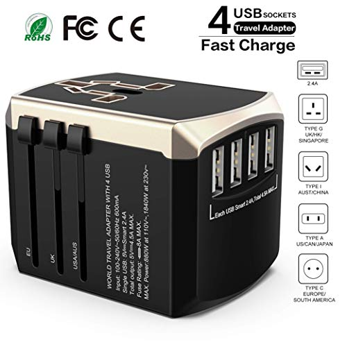 Travel Adapter International Power Adapter - Luxsure Worldwide All-in-one Universal Travel Adapter High Speed 4.5A 4 USB Charging Ports Compatible for Phone/Tablet/Laptop Use in USA EU UK AUS ()