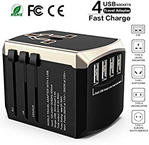 f618b26a38055 ENTER Travel Adapter Universal Power Adapter - Luxsure All-in-one  International Power Adapter High Speed 4.5A 4 USB Charging Port Compatible  for ...