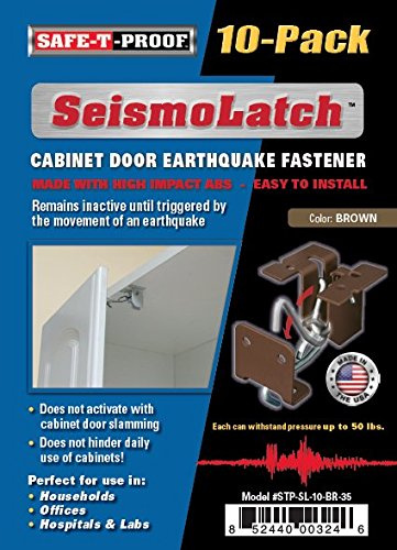 Seismolatch Automatic Earthquake Activated Cabinet Latch Brown 10 Pack