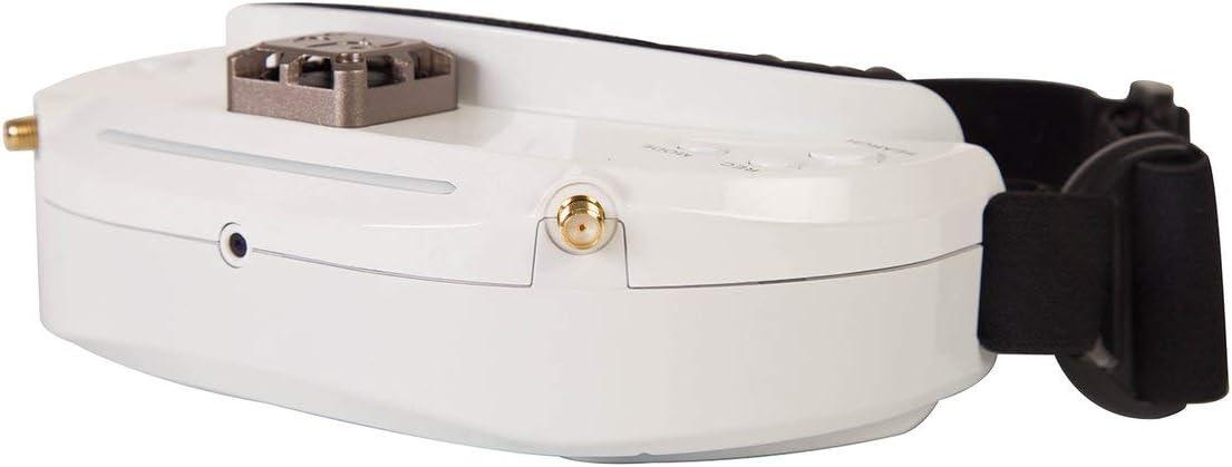 ラジコンとリモコンのおもちゃSKYZONE SKY03S 5.8GHz 48CHダイバーシティFPVゴーグル、ファン付きDVRフロントカメラサポートRCドローンホワイト用HDMIヘッドトラッキング