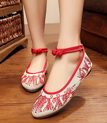 Mary Womens Flats AvaCostume Point Jane Red Shoes Hot Toe Drill Embroidery w6U60