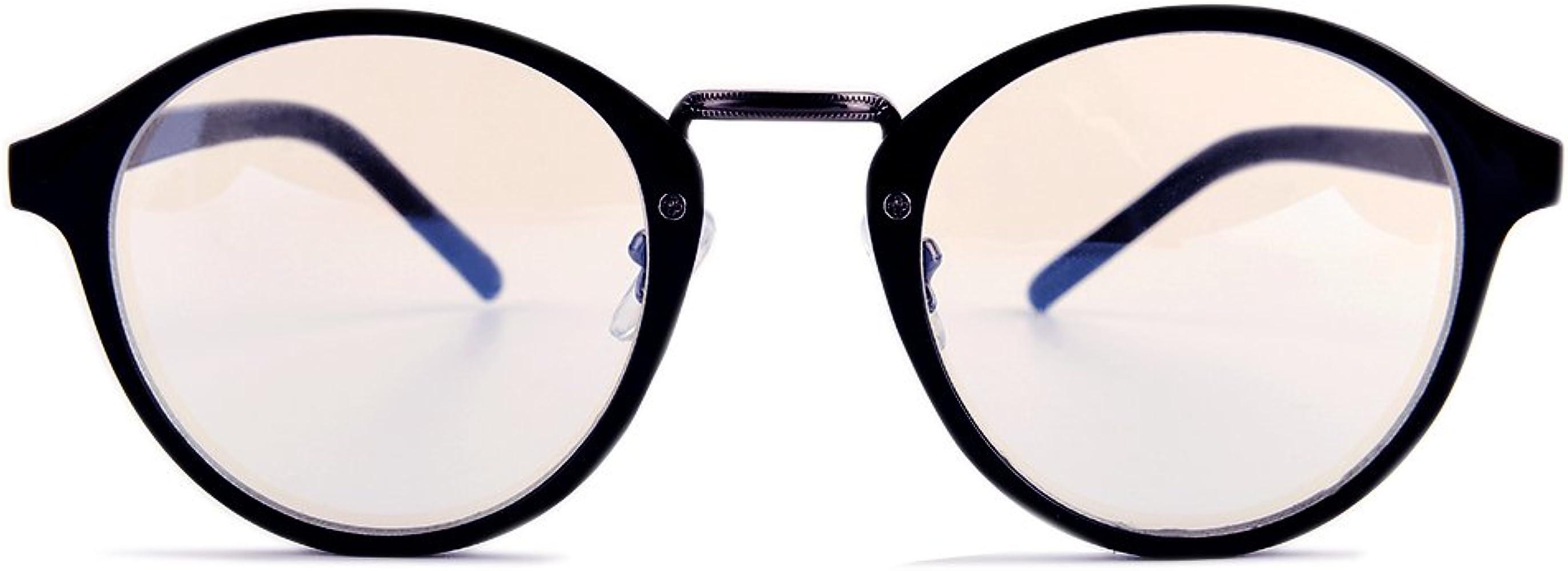 Gudzws Anti lumière bleue rayons Lunettes Rétro Ronde soulager yeux Fatigue Unisex