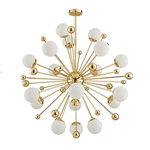 Modern Chandelier 18 Lamp Pendant Lamp Milk White Glass Ball Ceiling Chandelier Electroplating Gold Material Decorative Indoor Ceiling Lamp (18 light) - Gold Milk Glass