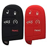 Black and Red Key Case Cover Jacket Silicone Rubber Fob Keyless Remote Holder Skin fit for JEEP FIAT DODGE CHRYSLER Smart Remote Key Case