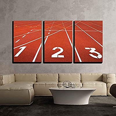 3 Piece Canvas Wall Art - Start Track. Lanes 1 2 3 of a Red Racing Track - Modern Home Art Stretched and Framed Ready to Hang - 24