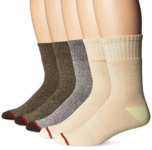 Signature Brands Men's 5 Pack Thermal Crew Sock, Brown/Tan, Sock Size: 10-13/Shoe Size:9-11 ()