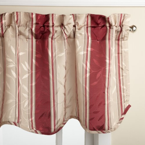 Lorraine Home Fashions Whitfield Stripe 52-inch x 18-inch Valance, (Red Window Treatment)