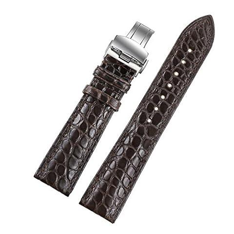 17mm Exotic Dark Brown Genuine Alligator Leather
