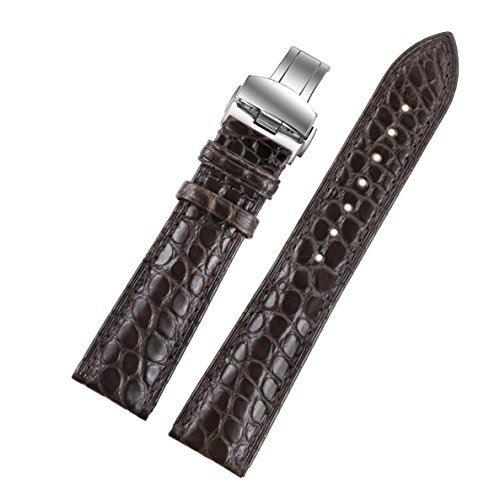 19mm-dark-brown-coffee-handmade-luxury-replacement-leather-watch-straps-bands-genuine-crocodile-skin