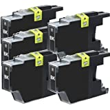 Generic  5-PACK Brother Compatible LC75 (LC-75) Black High Yield Ink for