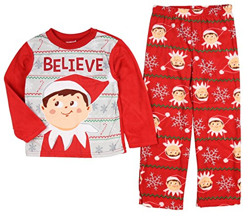 Elf on The Shelf Boys Christmas Fleece Pajamas (6, Cherry Red) ()