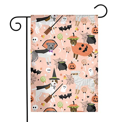 Pitbull Halloween Costume Dog Fabric - Cute Dogs In Costume Halloween Design Candy Corn-Orange Garden Flag 12 X 18 Inches,Double-Sided Yard Flag, Polyester House Banner For Indoor Outdoor Home -