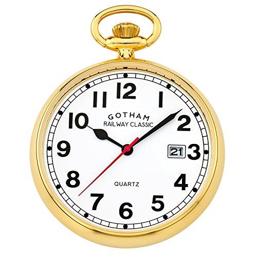 Tone Pocket Gold Watch Quartz - Gotham Men's Gold-Tone Analog Quartz Date Railroad Pocket Watch # GWC14101G