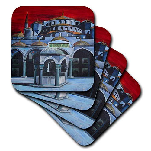 Sultan Mosque Ahmed (3dRose Taiche - Acrylic Painting - Landscapes - Sultan Ahmed Mosque - istanbul, islamic, sultan ahmed mosque, mosque, sultanahmet camii, blue mosque - set of 4 Coasters - Soft (cst_46757_1))