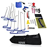 Furuix 62pcs PDR Kit Car Ding Repair Kits Paintless Dent Removal Auto Body Dent Repair PDR Rods Hook Wedge