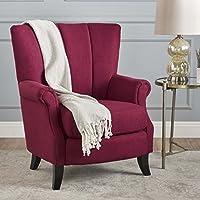 Ezra Classic Fabric Club Chair (Deep Red)
