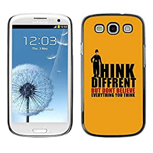 Caucho caso de Shell duro de la cubierta de accesorios de protección BY RAYDREAMMM - Samsung Galaxy S3 I9300 - Thoughts Different Quote Belief Mind