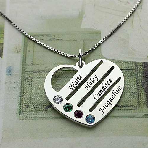 d6210d7c289b1 Personalized Heart Pendant - Engraved Mom Necklace with Kids Names  Birthstone Jewelry Gold14.0 inches
