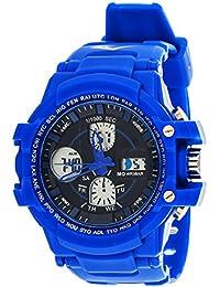 Sport Men's Analog Digital Round Watch with Blue Rubber Strap