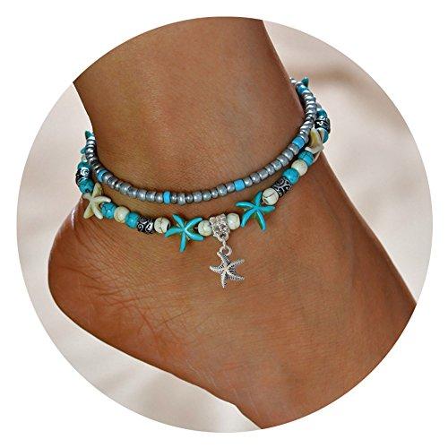 Multi-Layered Sea Turtle Starfish Anklets Women Turquoise Stone Boho Bracelet (Sterling Turquoise Vintage Bracelets)