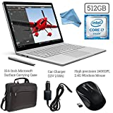 Microsoft Surface Book (512GB SSD, 16GB RAM, Intel 6th Gen Intel i7 + 15.6-Inch Microsoft Surface Carrying Case + 2.4G Wireless Portable Mobile Optical Mouse + Car Charger + DigitalAndMore Cloth