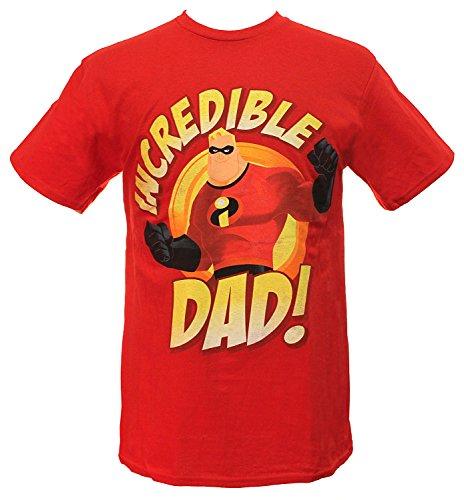 Disney Men's Incredible Dad T-Shirt, Red, (Family Incredibles Costume)