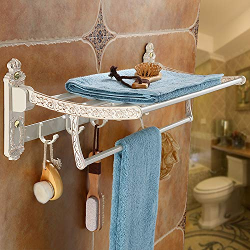 Hlluya Bathroom Accessory Set Fold The Towel Rack Towel Rack Space White Gold Aluminum Toilet Racks to Set Item, The Crowne Plaza - Bath Towel Rack
