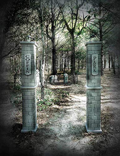 Coffin Park Cemetery Entrance Columns Lighted (Set) Over 5 feet Tall Halloween -