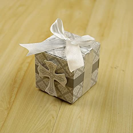 Amazon.com: 50pcs Caja de Favor Cross Candy Primera Comunión ...
