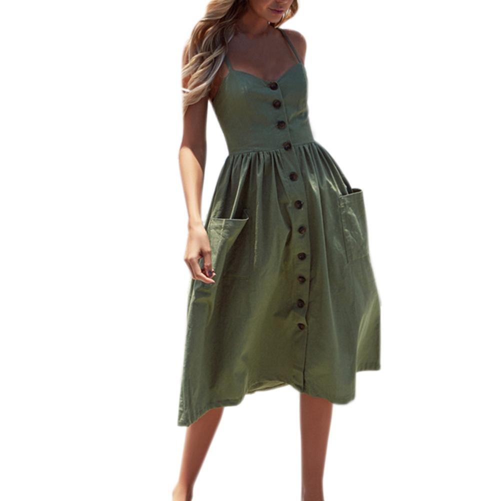 Nikuya Women Summer Sexy Buttons Solid Off Shoulder Sleeveless Dress Princess Dress (L, Army Green)