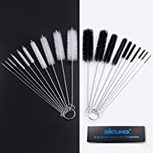 DiCUNO 2 Sets of Cleaning Brushes 8 Inch Nylon Tube Brushes Set with Protective Design [Updated Edition, 1 Set of Super Hard & 1 Set of Medium Hard]