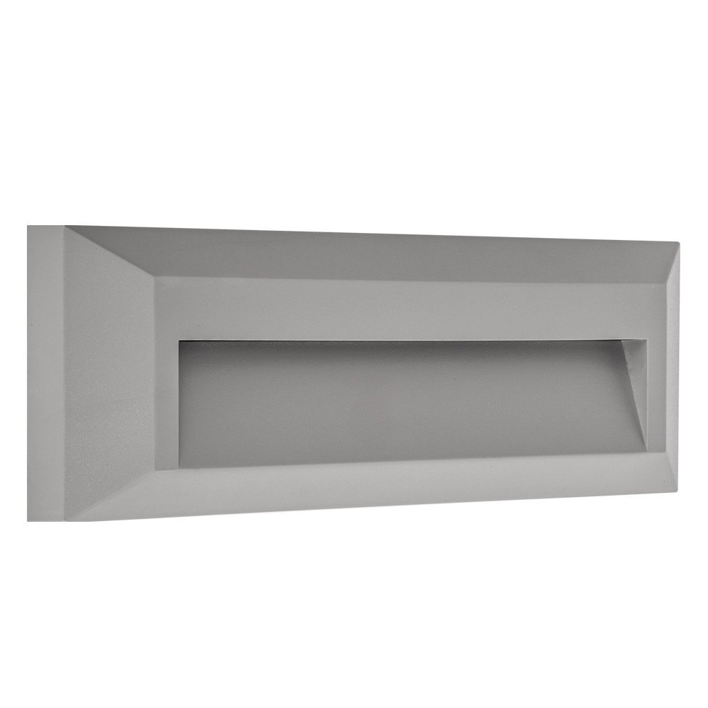 Electric Stair Step and Wall Led Light - Outdoor and Indoor Decorative Lighting - Rectangular, Down Light, Waterproof IP65, 1.6W 120V 4000K 100LM, Gray