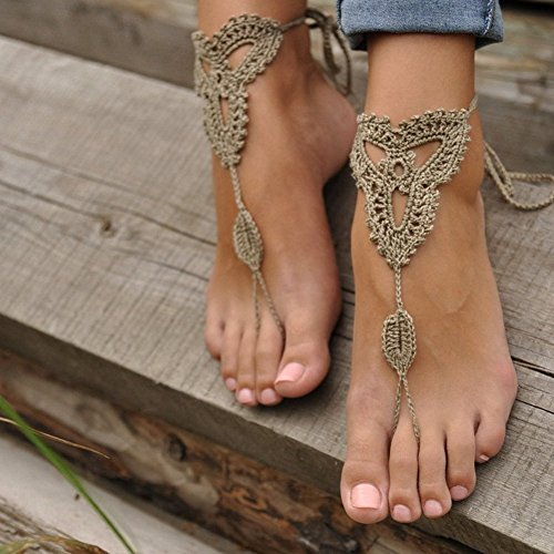 Khaki Barefoot Shoes Anklet Cotton Footless Foot Crochet Sandals Decoration Nude Vogholic 78vnWxf1