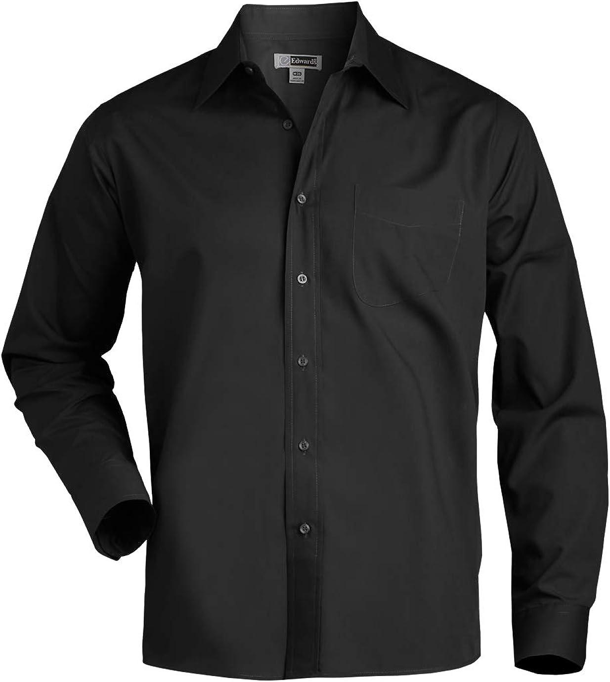 Edwards Garment Mens Long Sleeve Broadcloth Dress Shirt/_BLACK/_Medium 31