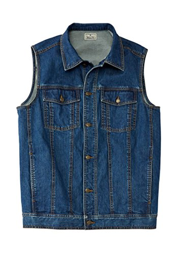 Liberty Blues Men's Big & Tall Button Front Cotton Denim Vest, Blue Wash by Liberty