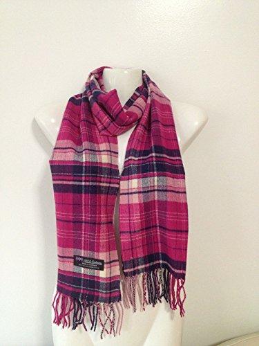 (100% Cashmere Scarf plaid design super soft scarf UNISEX, Pink-Navy)