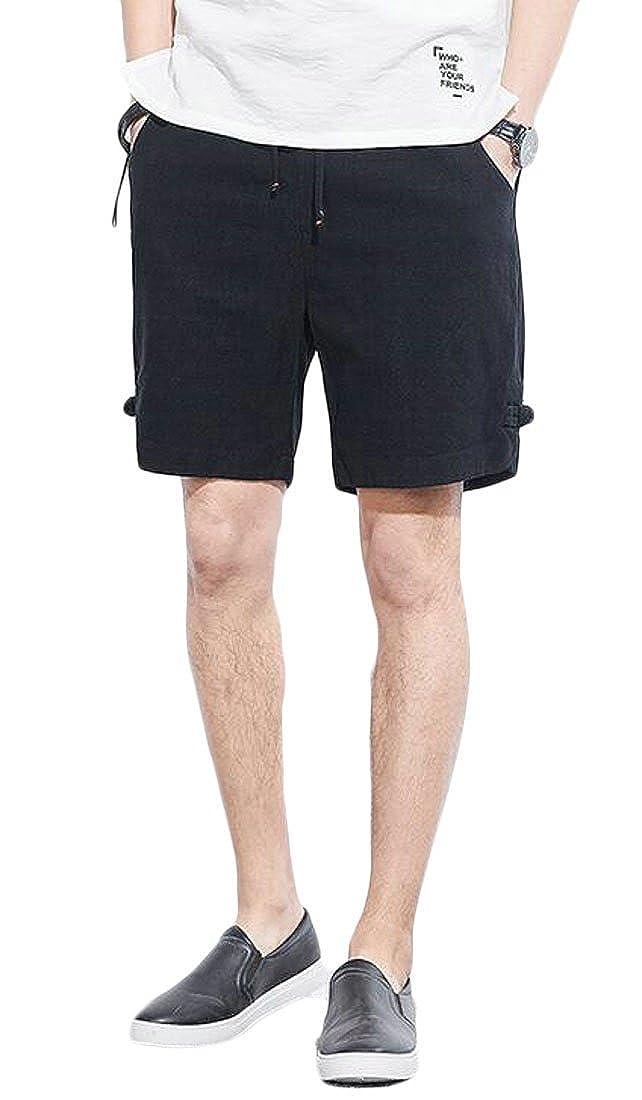 SELX Men Linen Solid Casual Elastic Waist Beach Shorts Boardshort Swim Trunk