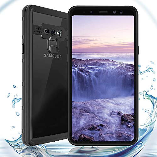 ShellBox for Galaxy Note 9 Waterproof Case, Shockproof Snowproof Cover IP68 Underwater Full Body Protection Crystal Clear Built-in Screen Protector Case for Note 9